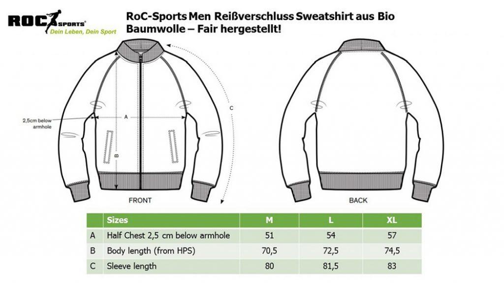RoC-Sports | Shop | Bekleidung | Bio Baumwoll Reissverschluss Sweatshirt