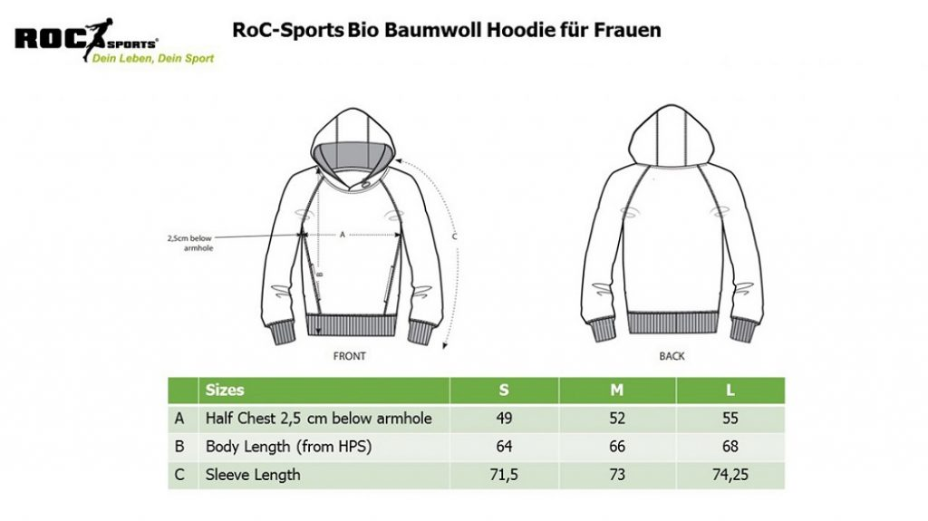 RoC-Sports | Shop | Bekleidung | Bio Baumwoll Hoodie für Frauen