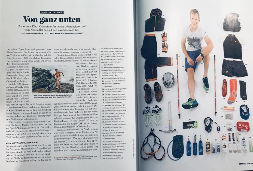 Pressespiegel: Die Zeitschrift Bergwelten schreibt über Klaus Gösweiner und seine Mission Crossing Styria mit ca. 500km und 20.000 Höhenmetern Mit im Gepäck sind die feinen ROC-Sports Fruchtschnitten.