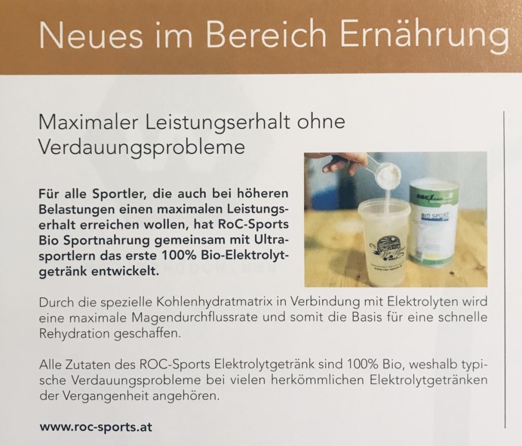 Pressespiegel: Ein kurzer Artikel über das Bio Elektrolytgetränk von ROC-Sports für den Ausdauer- und Kraftsport.