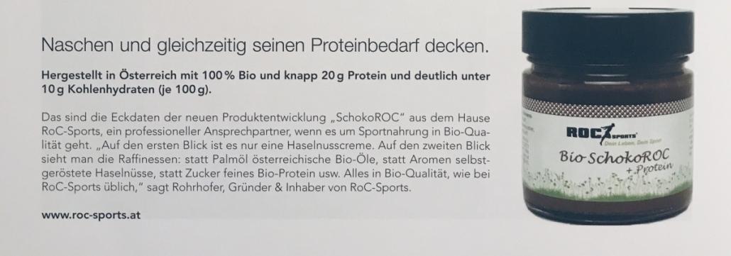 Pressespiegel:Der feine SchokoROC in den Nachrichten. Die herrlich leckere Proteincreme in 100% Bio-Qualität und ohne Palmöl.
