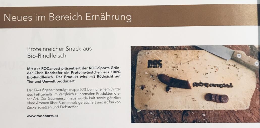 Pressespiegel: Das stärkste Bio Eiweißwürstchen am Markt – die ROCanossi. 100% Bio-Rindfleisch und jede Menge Protein.