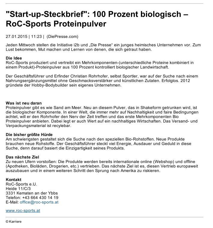"""Pressespiegel: """"Start-up-Steckbrief"""": 100 Prozent biologisch - RoC-Sports Proteinpulver"""