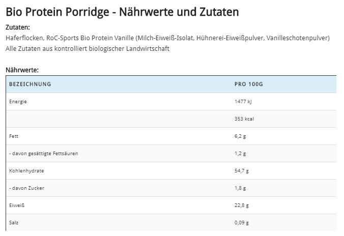 Bio Protein Porridge - Nährwerte und Zutaten